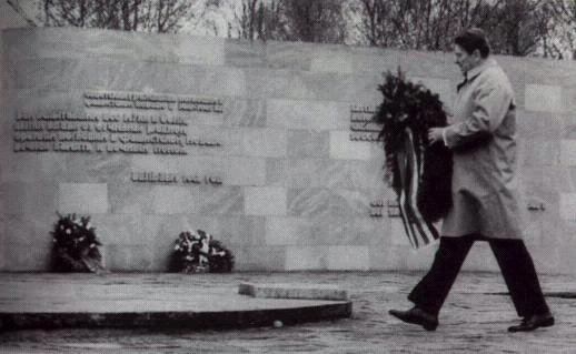 President Reagan laying a wreath at Kolmeshohe Cemetery, Bitburg, West Germany, 5 May 1985 (2).jpg