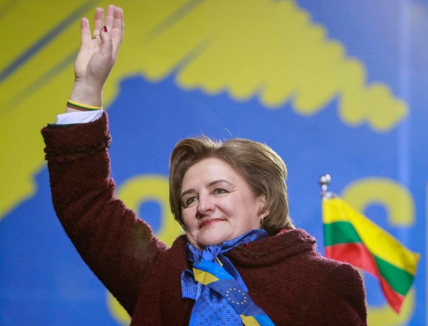 Lithuania's Speaker of the Seimas Loreta Grauziniene waves to protesters during a rally to support EU integration in Kiev November 26, 2013.